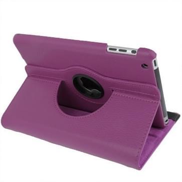 360 graden draaiend lederen hoesje met houder voor iPad mini 1 / 2 / 3 (paars)