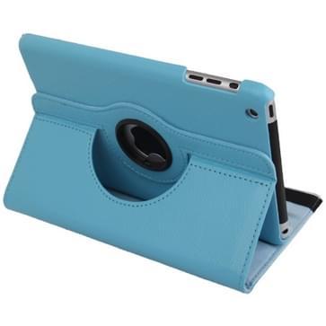 360 graden draaiend lederen hoesje met houder voor iPad mini 1 / 2 / 3 (Baby blauw)