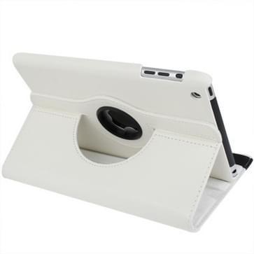 360 graden draaiend lederen hoesje met houder voor iPad mini 1 / 2 / 3 wit