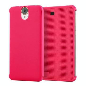 HTC One E9+ horizontaal Gaatjes structuur Kunststof Flip Hoesje met slaap / ontwaak functie (hard roze)