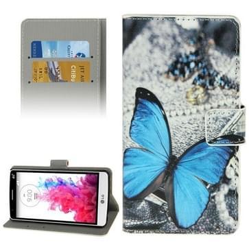 Blauwe vlinder patroon lederen hoesje met houder & opbergruimte voor pinpassen & portemonnee voor LG G3 Mini