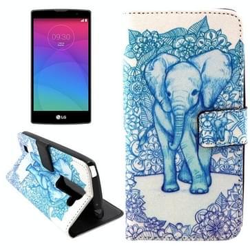 Bloemen Olifants patroon Horizental Flip lederen hoesje met houder & opbergruimte voor pinpassen & portemonnee voor LG Magna / H502