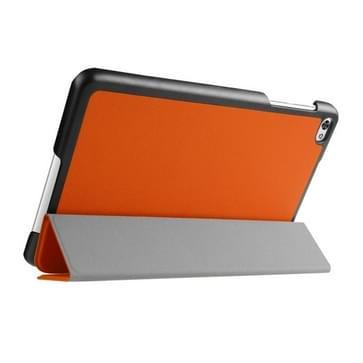 Custer structuur structuur horizontaal Flip lederen hoesje met 3-vouw houder voor Huawei MediaPad M2(Oranje)