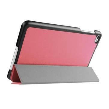 Custer structuur structuur horizontaal Flip lederen hoesje met 3-vouw houder voor Huawei MediaPad M2(roze)