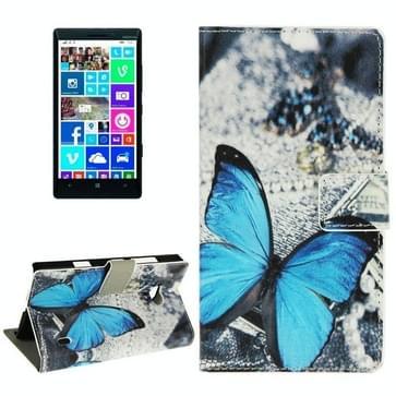 Blauwe vlinder patroon lederen hoesje met houder & opbergruimte voor pinpassen & portemonnee voor Nokia Lumia 930
