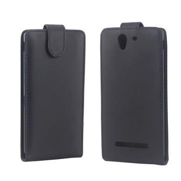 Vertical Flip lederen hoesje voor Sony Xperia C3(zwart)