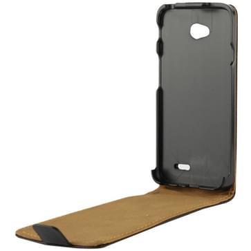 Verticale Flip lederen Magnetic sluiting hoesje voor LG L70 / Dual D325 (zwart)
