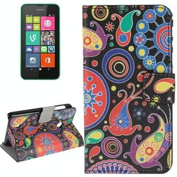 Abstract patroon lederen hoesje met houder & opbergruimte voor pinpassen & portemonnee voor Nokia Lumia 530