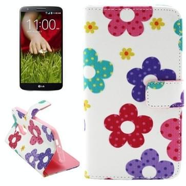 Kruis structuur Gekleurde bloemen patroon lederen hoesje met houder & opbergruimte voor pinpassen & portemonnee voor LG G2