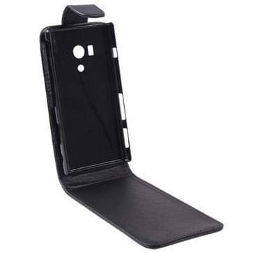 Vertical Flip lederen hoesje voor Sony Xperia Acro S / LT26W (zwart)