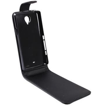 Vertical Flip lederen hoesje voor Sony Xperia T / LT30i (zwart)