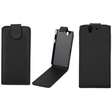Vertical Flip Soft lederen hoesje voor Sony Xperia Z / Yuga C6603 (zwart)