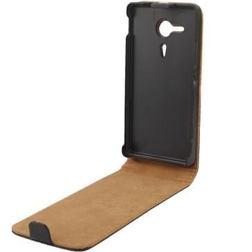 Hoge kwaliteit Vertical Flip lederen hoesje voor Sony Xperia SP / M35h  (zwart)