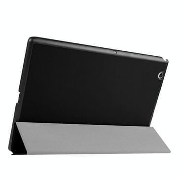 Sony Xperia Z4 Tablet horizontaal Kruis structuur PU leren Flip Hoesje met drievouws houder (zwart)