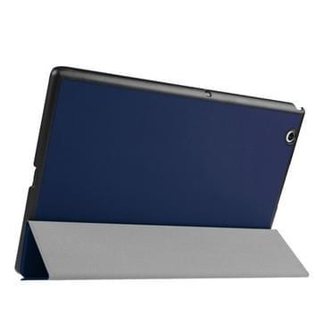 Sony Xperia Z4 Tablet horizontaal Kruis structuur PU leren Flip Hoesje met drievouws houder (donker blauw)