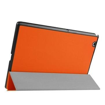 Sony Xperia Z4 Tablet horizontaal Kruis structuur PU leren Flip Hoesje met drievouws houder (Oranje)