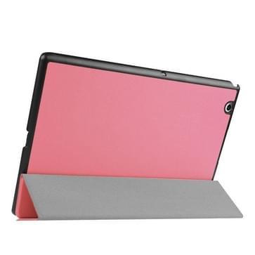 Sony Xperia Z4 Tablet horizontaal Kruis structuur PU leren Flip Hoesje met drievouws houder (roze)