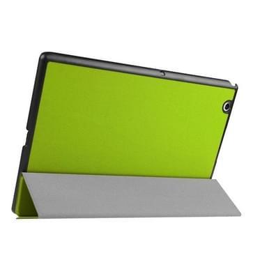 Sony Xperia Z4 Tablet horizontaal Kruis structuur PU leren Flip Hoesje met drievouws houder (groen)