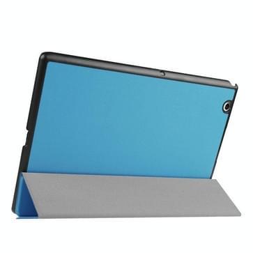 Sony Xperia Z4 Tablet horizontaal Kruis structuur PU leren Flip Hoesje met drievouws houder (blauw)