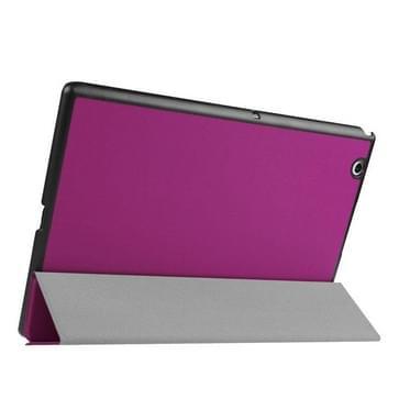 Sony Xperia Z4 Tablet horizontaal Kruis structuur PU leren Flip Hoesje met drievouws houder (paars)