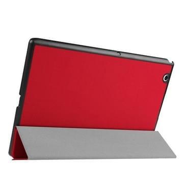 Sony Xperia Z4 Tablet horizontaal Kruis structuur PU leren Flip Hoesje met drievouws houder (rood)