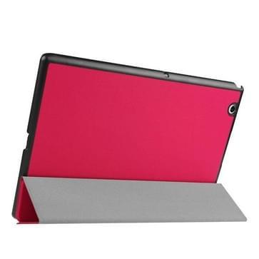 Sony Xperia Z4 Tablet horizontaal Kruis structuur PU leren Flip Hoesje met drievouws houder (roze rood)