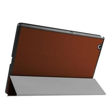 Sony Xperia Z4 Tablet horizontaal Kruis structuur PU leren Flip Hoesje met drievouws houder (bruin)