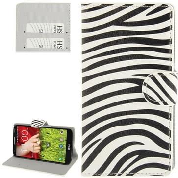 Zebra-stripe Pattern Leather Case with Credit Card Slots & Holder for LG Optimus G2 / D801 / F320 / F340L / LS980