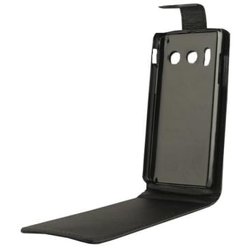 Huawei Y300 beschermend vertikaal PU leren Flip Hoesje (zwart)