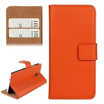 Horizontal Flip Top-grain Leather Case with Card Slots & Holder for HTC One mini / M4 (Orange)
