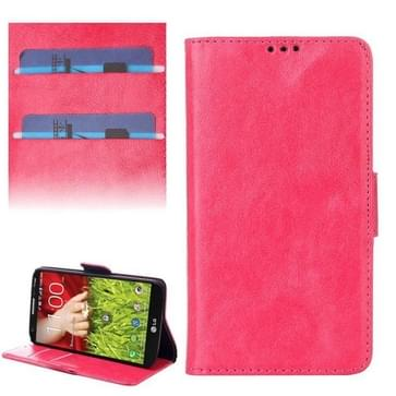 Oil Leather Case with Credit Card Slot & Holder for LG G2 mini (Magenta)