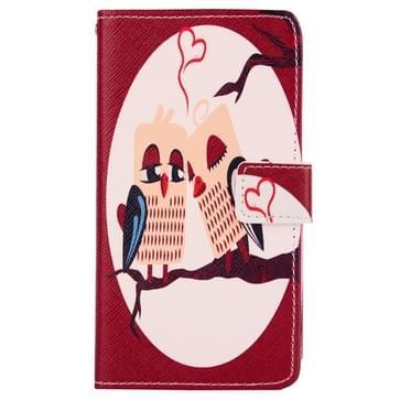 Mooie cartoon patroon horizontaal spiegelen lederen hoesje ontmoette houder & opbergruimte voor pinpassen & portemonnee voor LG G3 Stylus / D690