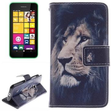 Lion patroon Double print lederen hoesje met houder & opbergruimte voor pinpassen & portemonnee voor Nokia Lumia 530