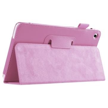 Huawei MediaPad M1 / S8-301W horizontaal Litchi structuur PU leren Flip Hoesje met houder (roze)