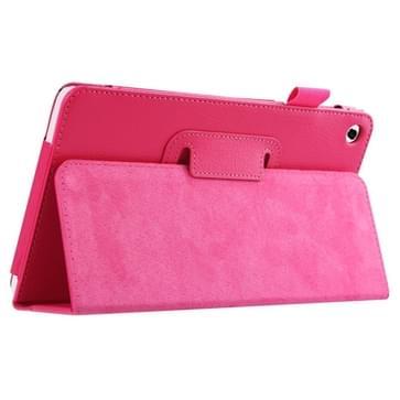Huawei MediaPad M1 / S8-301W horizontaal Litchi structuur PU leren Flip Hoesje met houder (hard roze)