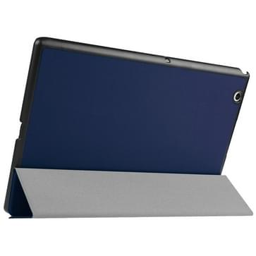 Sony Xperia Z4 Tablet horizontaal PU leren Flip Hoesje met drievouws houder (donker blauw)