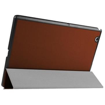 Sony Xperia Z4 Tablet horizontaal PU leren Flip Hoesje met drievouws houder (bruin)