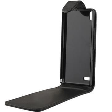 Huawei Ascend P6 vertikaal zacht PU leren Flip Hoesje (zwart)