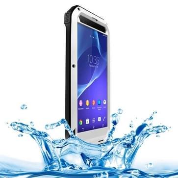 Sony Xperia T2 Ultra compleet omhullend ultrarobuust regendicht metalen LOVE MEI Hoesje (zilverkleurig)
