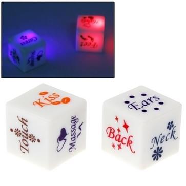 Kleur LED licht Sexy Dice Bachelor Party Game / nieuwigheid Gift slaapkamer speelgoed voor minnaar, Afmeting: 18 mm x 18 mm x 18 mm, Pack van 2wit
