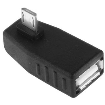 Micro USB mannetje naar USB 2.0 A vrouwtje Adapter met een 90 graden hoek, ondersteunt OTG functie(zwart)