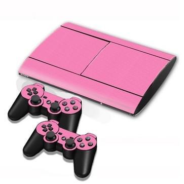 Carbon Fiber structuur Stickers voor PS3 Game Console(roze)