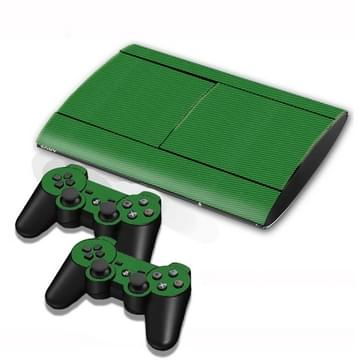 Carbon Fiber structuur Stickers voor PS3 Game Console(groen)