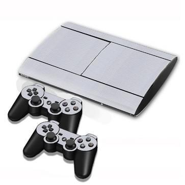 Carbon Fiber structuur Stickers voor PS3 Game Console(grijs)