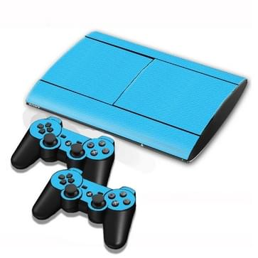 Carbon Fiber structuur Stickers voor PS3 Game Console(blauw)