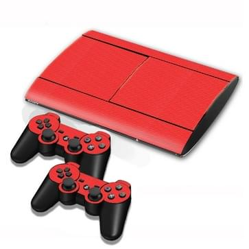 Carbon Fiber structuur Stickers voor PS3 Game Console(rood)