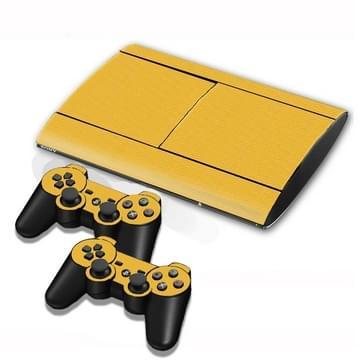 Carbon Fiber structuur Stickers voor PS3 Game Console(geel)