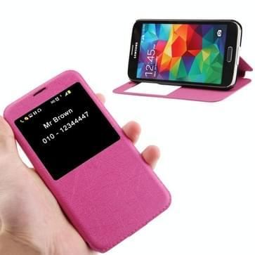 Lines Structuur lederen hoesje met Oproepweergave ID & houder voor Samsung Galaxy S5 / G900(hard roze)