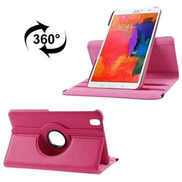360 graden draaiend Litchi structuur lederen hoesje met houder voor Samsung Galaxy Tab Pro 8.4 / T320 (hard roze)