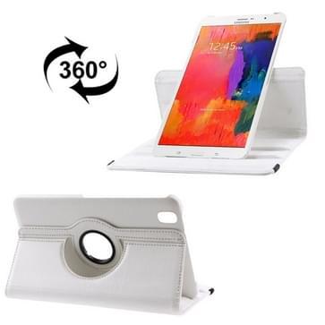360 graden draaiend Litchi structuur lederen hoesje met houder voor Samsung Galaxy Tab Pro 8.4 / T320 wit